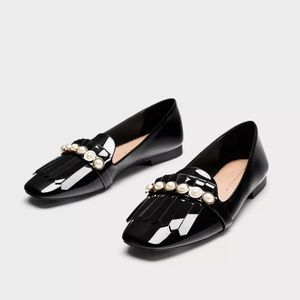 Zara Black penny loafers flat shoes faux pearls